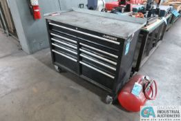 NINE-DRAWER HUSKY PORTABLE TOOL CABINET W/ TOOLS & CRAFTSMAN AIR TANK