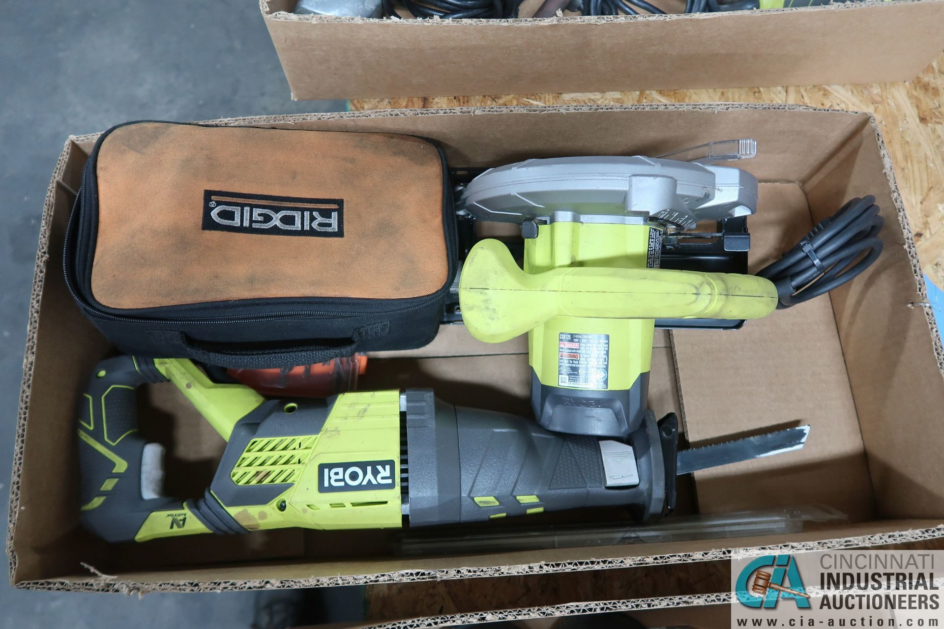 (LOT) RYOBI ELECTRIC CIRCULAR SAW, RECIPROCATING SAW & RIDGID SANDER