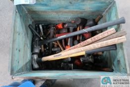 (LOT) WOOD CRATE W/ SLEDGE HAMMERS & MALLETS