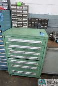 SEVEN-DRAWER TOOLING CABINET W/ CONTENTS (RIVETS, HARDWARE, PINS, TOOLS, DIE, SPRINGS, & OTHER