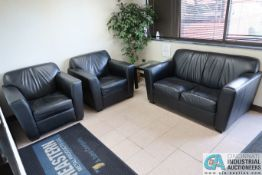 (LOT) LOBBY FURNITURE INCLUDING LEATHER LOVE SEAT, (2) LEATHER CHAIRS, TABLE & PLANTER