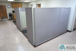 "125"" X 107"" STEELCASE OFFICE CUBICLE W/ (2) FOUR-DRAWER FILE CABINETS"
