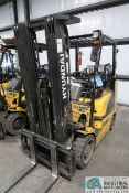 5,000 LB. HYUNDAI MODEL 25LC-7A SOLID TIRE LP GAS LIFT TRUCK; S/N HHKHHC08VF0000883, 3-STAGE MAST,
