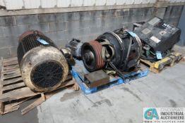 (LOT) (3) SKIDS PARTS; (3) ELECTRIC MOTORS; 75-HP, 40-HP, 10-HP, & WTC CONTROLS