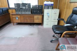 (LOT) MISC. OFFICE FURNITURE INCLUDING WOOD DESK, (2) CREDENZAS, (3) FILE CABINETS, BOOKCASE, (4)