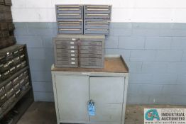 (LOT) CABINETS & SHELVING; TWO-DOOR SHOP CABINETS W/ SOME HARDWARE, BLUE FASTENAL CAIBNET W/