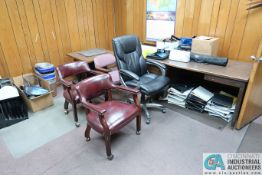 (LOT) CONTENTS OF OFFICE INCLUDING (2) DESKS, (2) TABLES, (2) FILE CABINETS & OFFICE SUPPLIES (NO