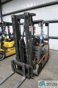"""3,000 LB. TOYOTA MODLE 7FGU15 SOLID TIRE LP GAS LIFT TRUCK; S/N 60891, 3-STAGE MAST, 82"""" MAST"""
