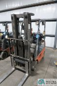 """3,000 LB. TOYOTA MODLE 7FGU15 SOLID TIRE LP GAS LIFT TRUCK; S/N 62126, 3-STAGE MAST, 82"""" MAST"""