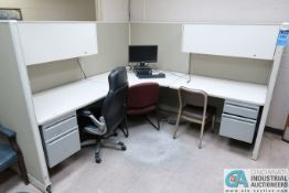 "(LOT) (2) 96"" X 96"" MODULAR DESKS, (6) CHAIRS, DELL PC"