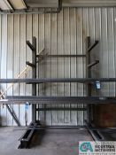 """30"""" ARM X 84"""" WIDE X 10' HIGH ADJUSTABLE ARM SINGLE SIDED CANTILEVER RACK, (8) ARMS TOTAL WITH (2)"""