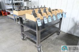 """40"""" X 60"""" X 36-1/2"""" HIGH X 3/8"""" THICK STEEL TOPO PLATE SHOP BUILT WELDED STEEL PORTABLE WORK BENCH"""