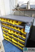 (LOT) UTILITY SHELVING WITH YELLOW BIND AND RUBBERMAID CABINET