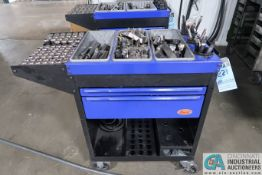 HUOT TOOLING CART AND CONTENTS WITH COLLETS, INDEXABLE LATHE TOOLING, BORING BARS, TAP, END MILLS,