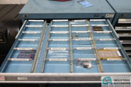 Contents Only of 14-DRAWER ROUSSEAU TOOLING CABINET, CARBIDE INSERTS, TAPS, DRILLS - No cabinet