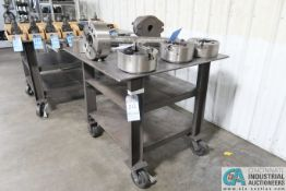 """40"""" X 40"""" X 36-3/4"""" HIGH X 1/2"""" THICK STEEL TOP PLATE SHOP BUILT WELDED STEEL PORTABLE WORK BENCH"""