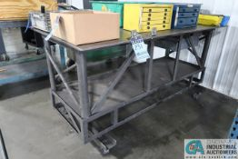 """34"""" X 74"""" X 36"""" HIGH X 1/2"""" THICK STEEL TOP PLATE HEAVY DUTY SHOP BUILT PORTABLE WORKBENCH"""
