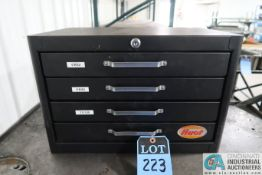 HUOT 4-DRAWER TOOL CABINET AND CONTENTS WITH THREE-PIECES COLLETS