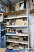 (LOT) MISCELLANEOUS SHOP SUPPLIES WITH SHELVING