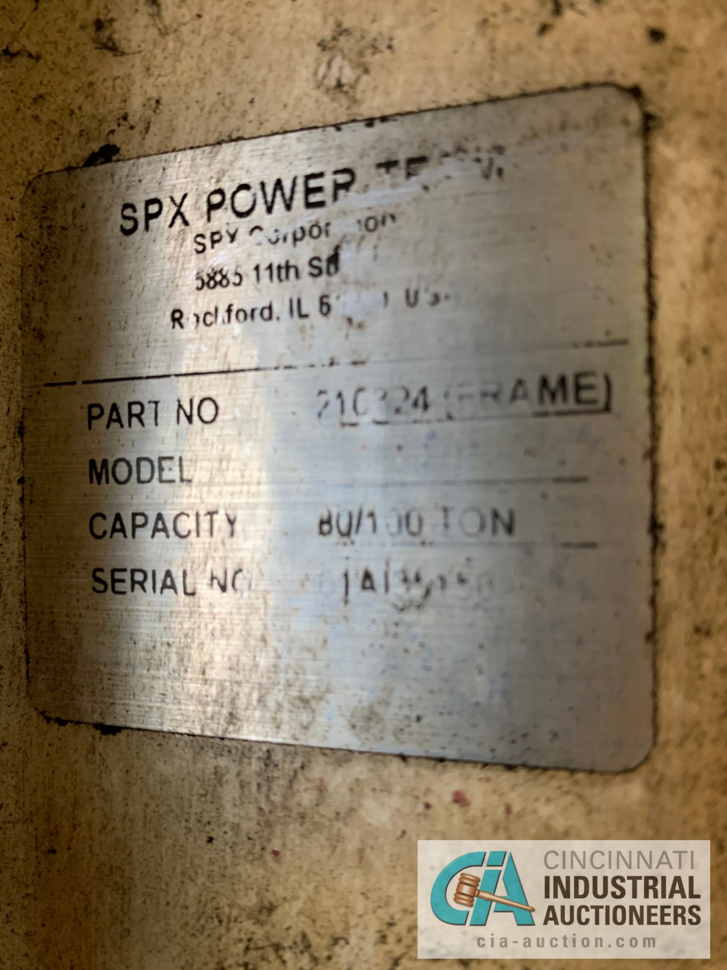 Lot 19 - 80/100 TON SPX H-FRAME HYDRAULIC PRESS WITH SPX MODEL PQ120 POWER UNIT **RIGGING FEE DUE TO
