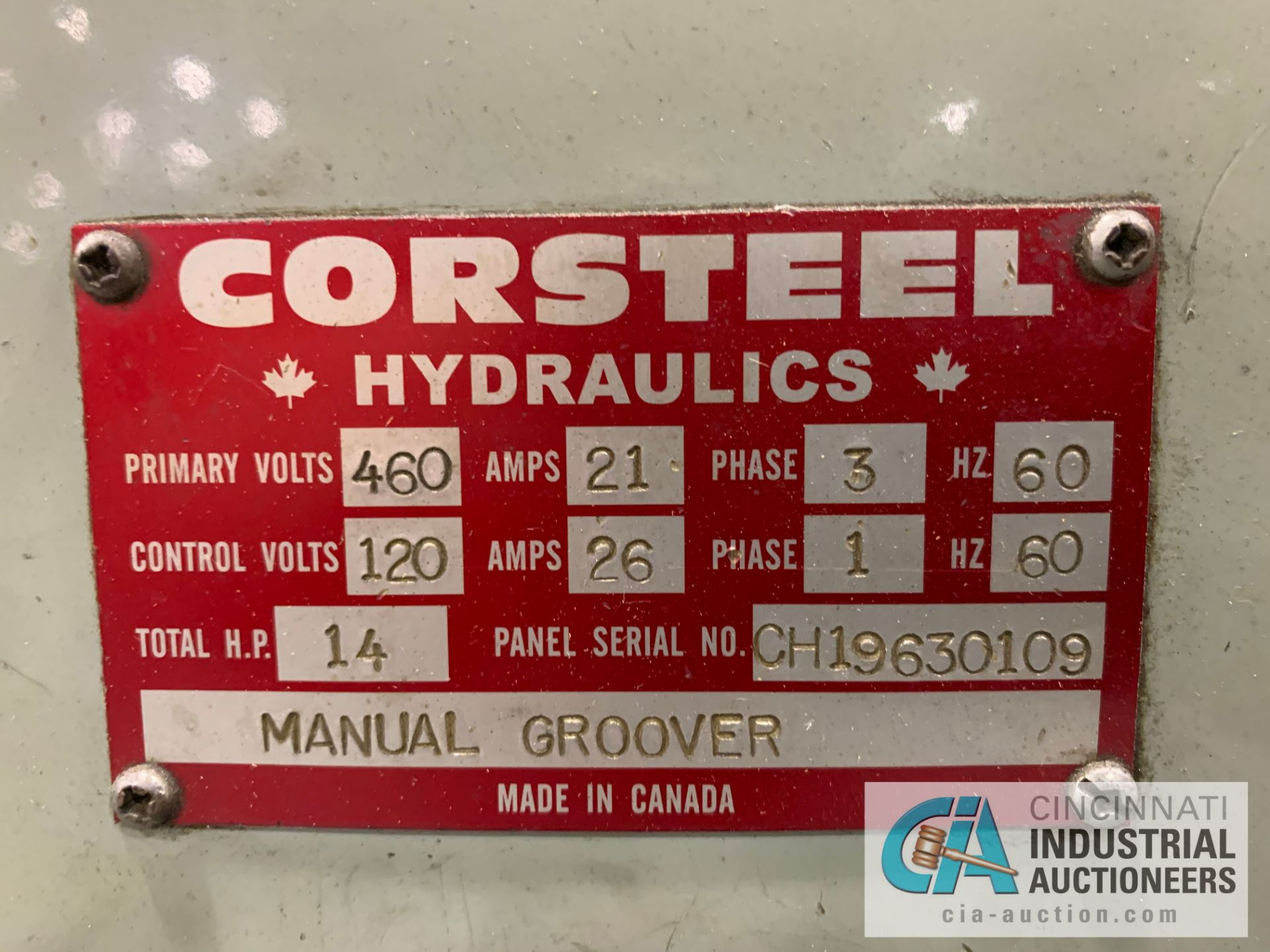 Lot 9 - CORSTEEL MANUAL GROOVER; 14 HP **RIGGING FEE DUE TO SHOEMAKER $500.00**