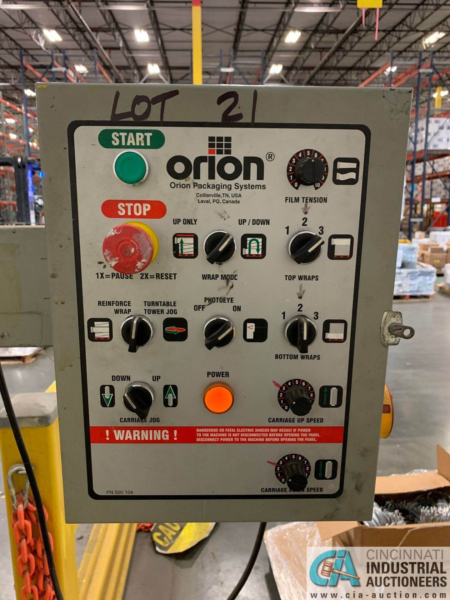 ORION M67/17IS SWING ARM STRETCH WRAPPING MACHINE; S/N 2006-0015989, 115-VOLTS, 15-AMPS, 60-HZ, 1- - Image 6 of 8
