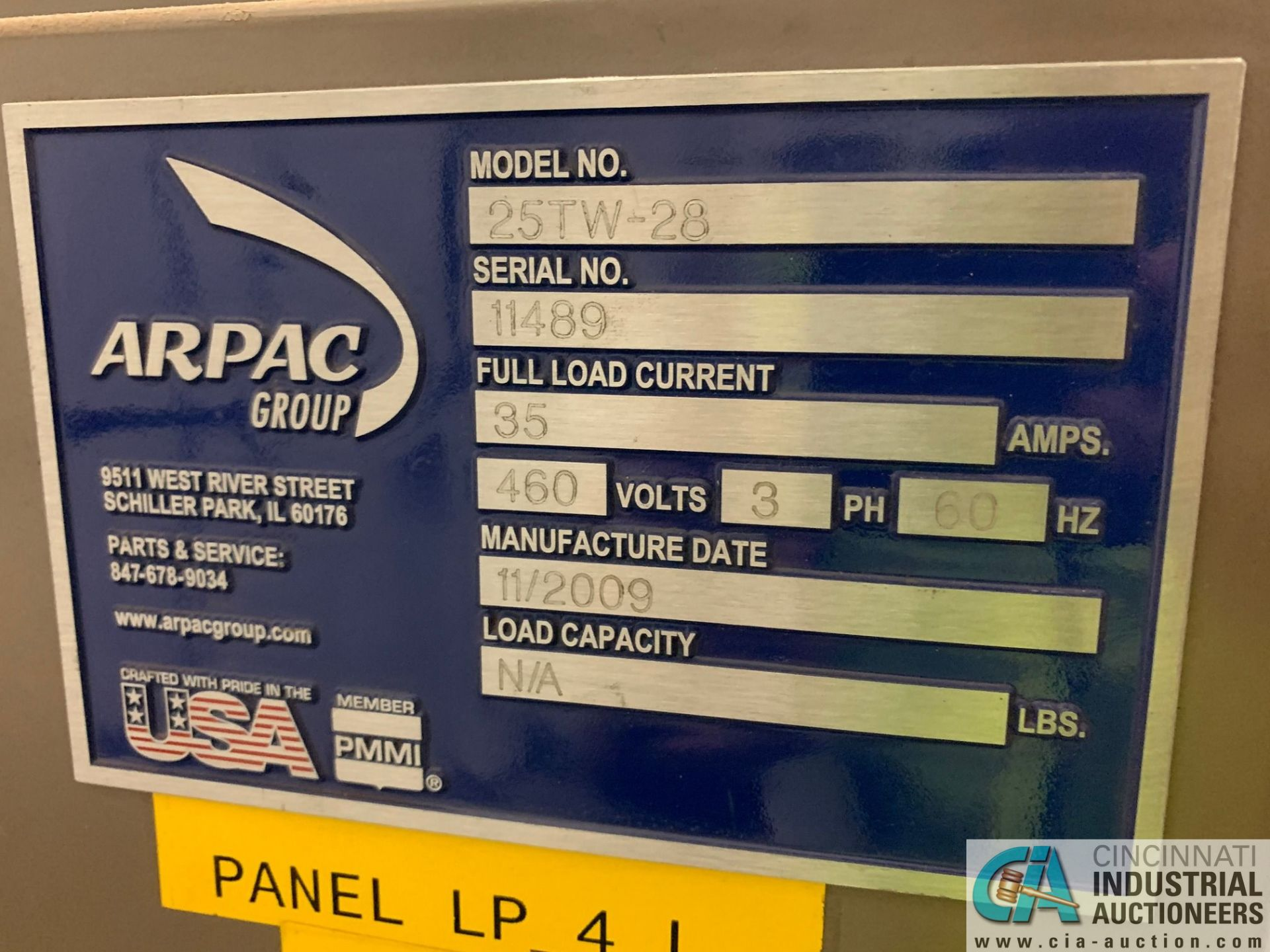 "ARPAC MODEL 25TW-28 SHRINK WRAPPER / HEAT TUNNEL; S/N 11489, HEIGHT RANGE: 4"" - 12"", LENGTH (FLOW - Image 5 of 19"