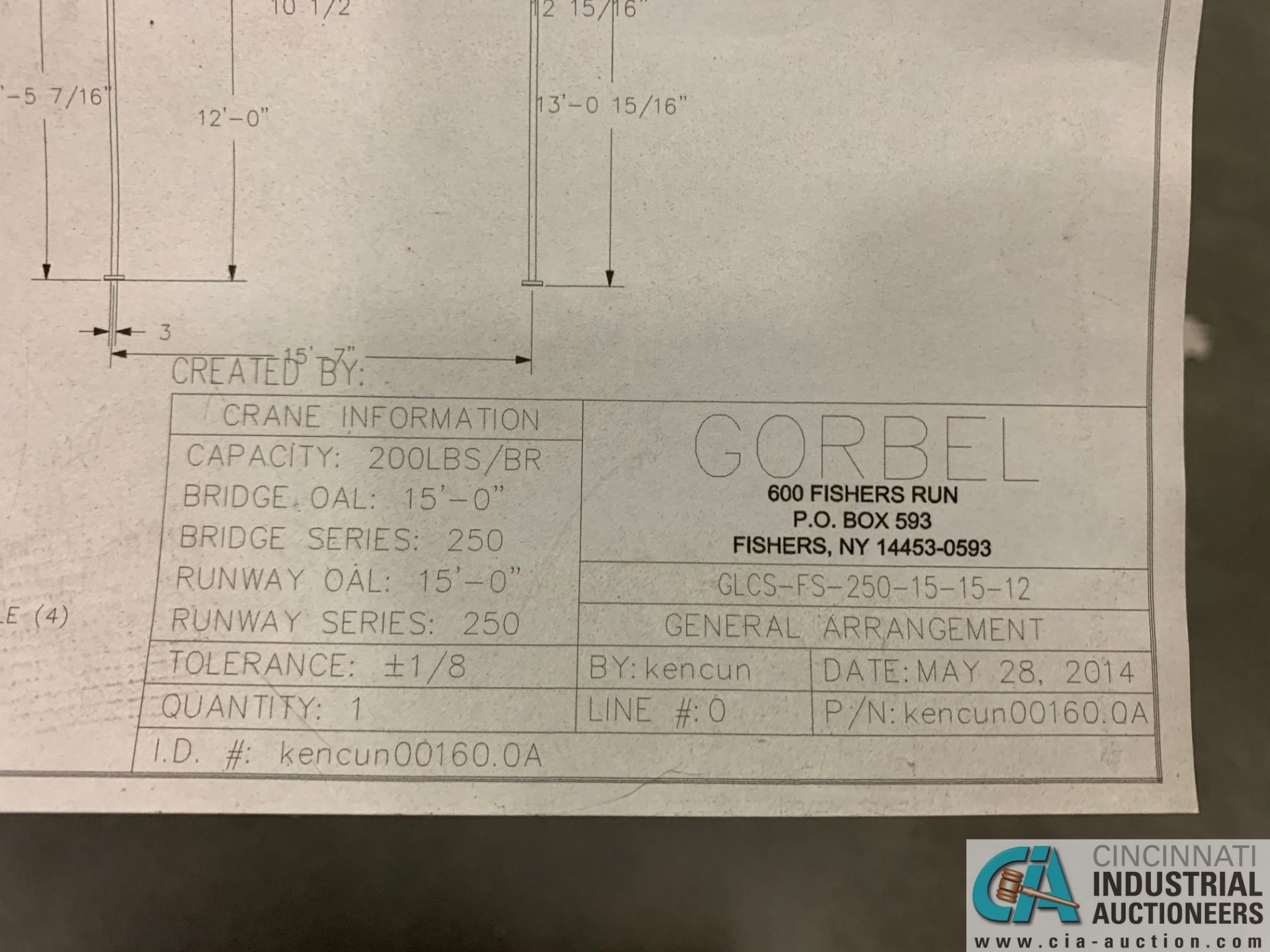 200 LB. GORBEL MODEL GLCS-FS-250-15-15-12 FREE-STANDING CRANE SYSTEM; 15' BRIDGE OAL, 15' RUNWAY - Image 9 of 15