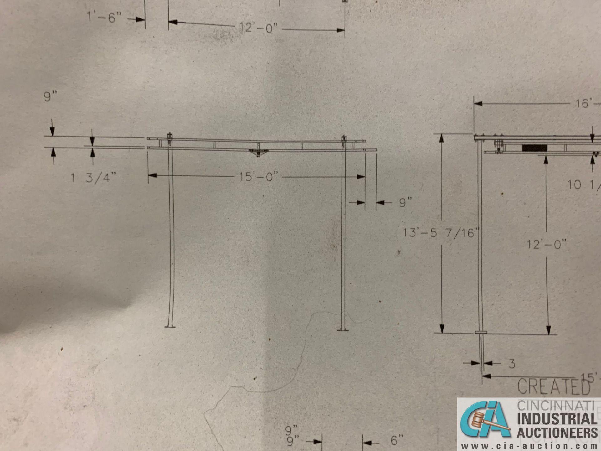 200 LB. GORBEL MODEL GLCS-FS-250-15-15-12 FREE-STANDING CRANE SYSTEM; 15' BRIDGE OAL, 15' RUNWAY - Image 12 of 15