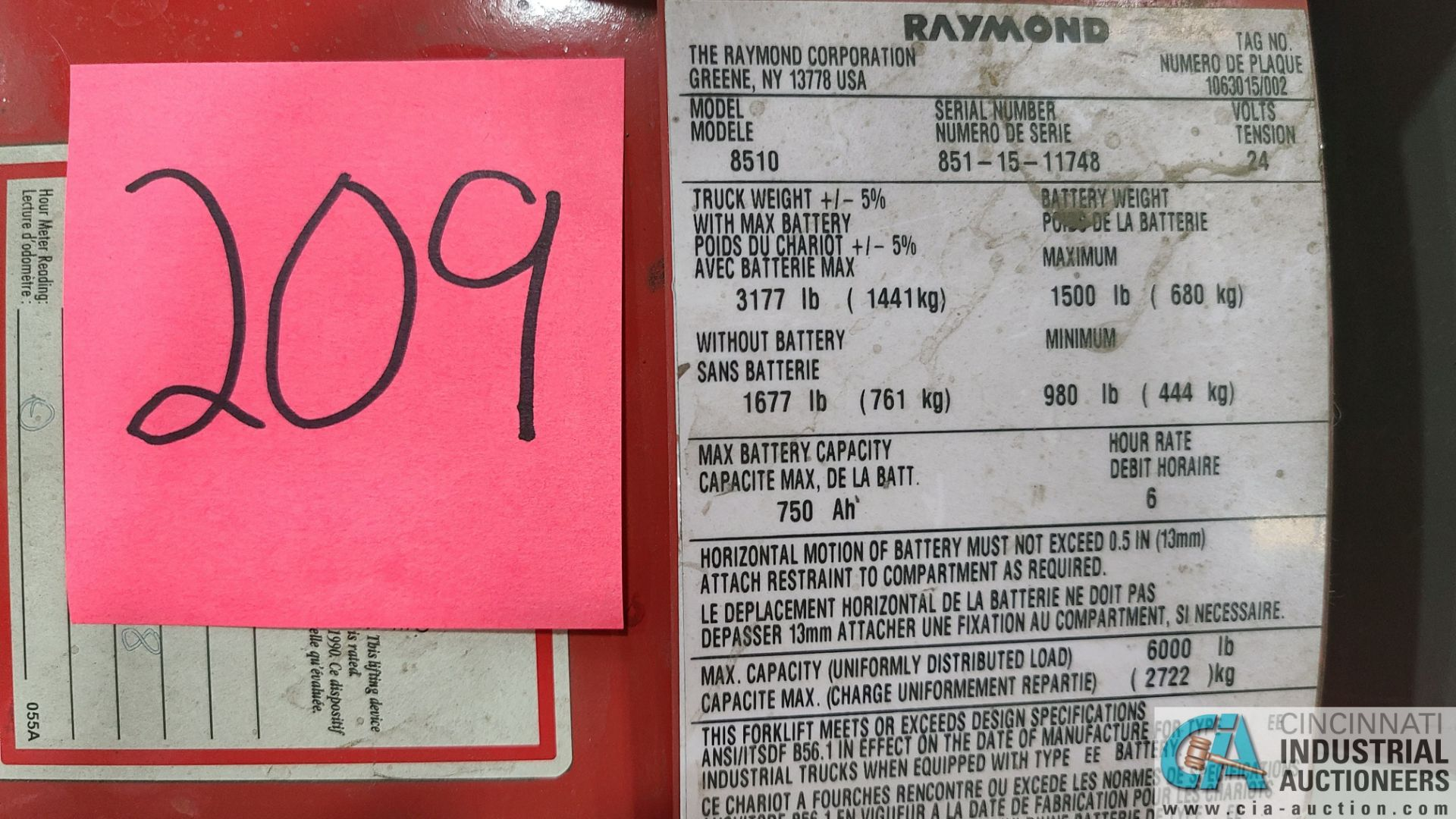 RAYMOND MODEL 8510 ELECTRIC PALLET TRUCK; S/N 851-15-11748, W/ BATTERY, HOURS N/A (NEW 2015) (2570 - Image 4 of 4