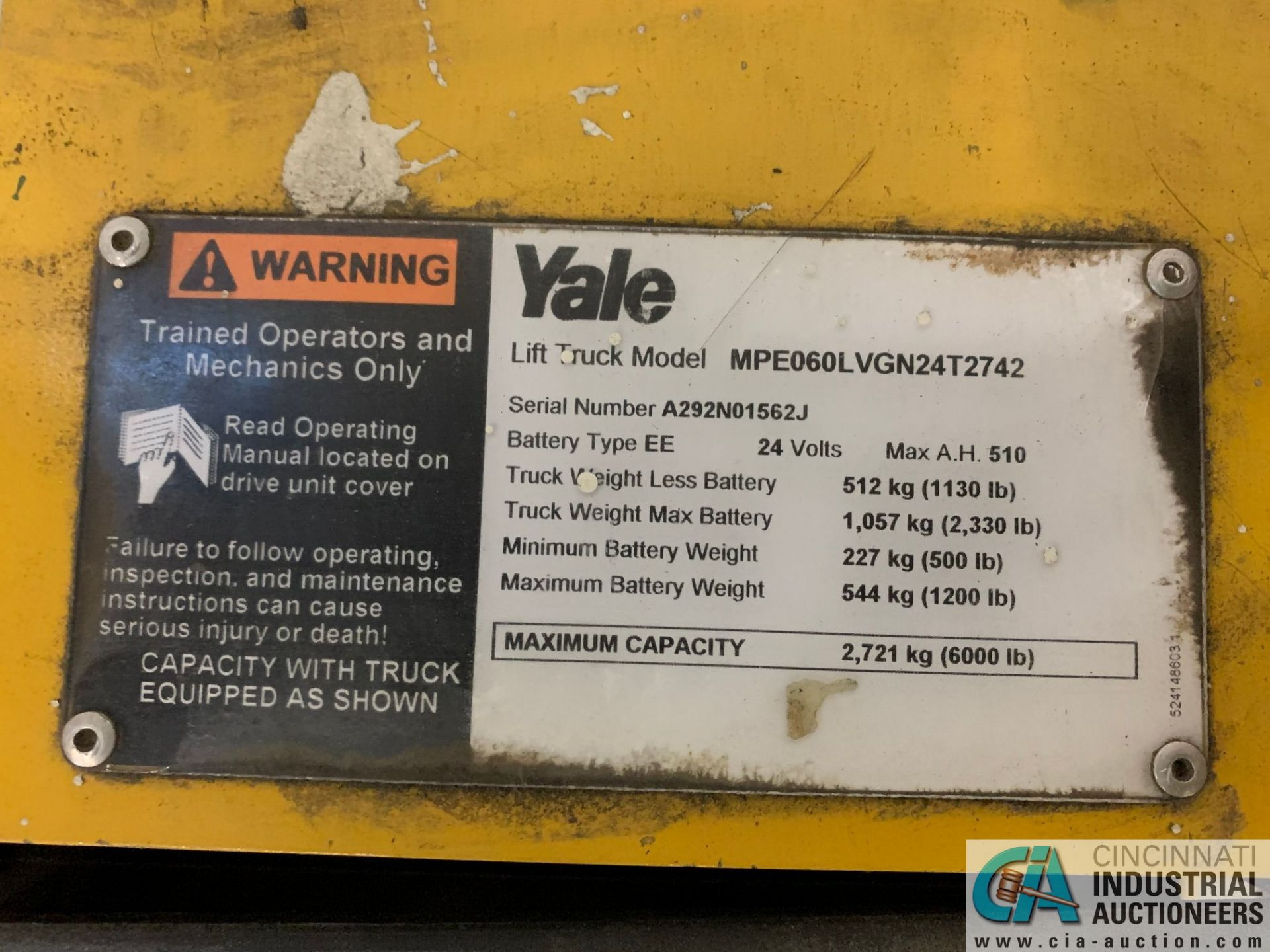 6,000 LB. YALE MODEL MPE060LVGN24T2742 ELECTRIC PALLET TRUCK; S/N A292N01562J (OUT OF SERVICE) (5400 - Image 3 of 3