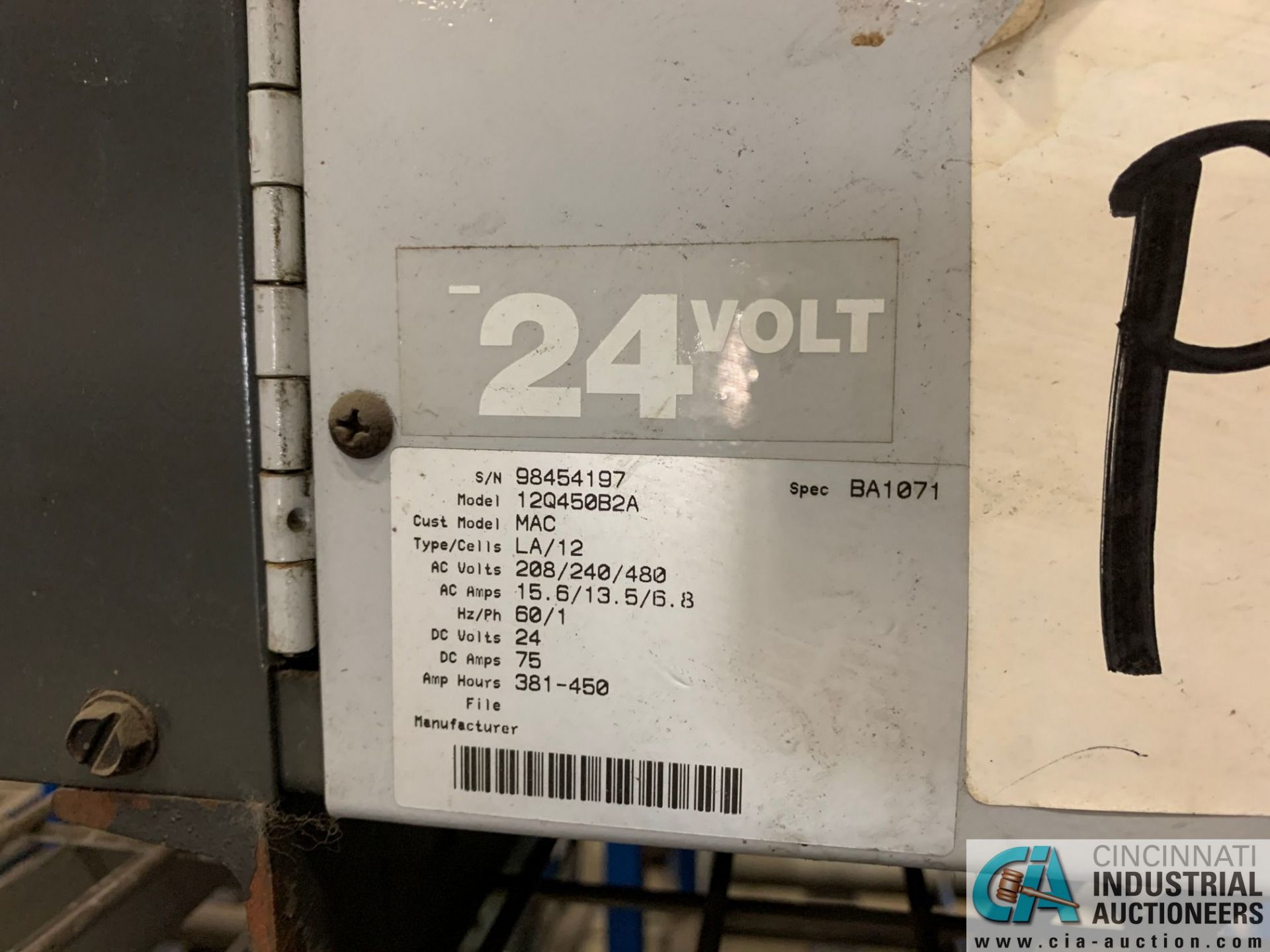 24-VOLT QUANTUM MODEL 12Q450B2A BATTERY CHARGER; S/N 98454197 (5400 OAKLEY INDUSTRIAL BLVD., - Image 2 of 3