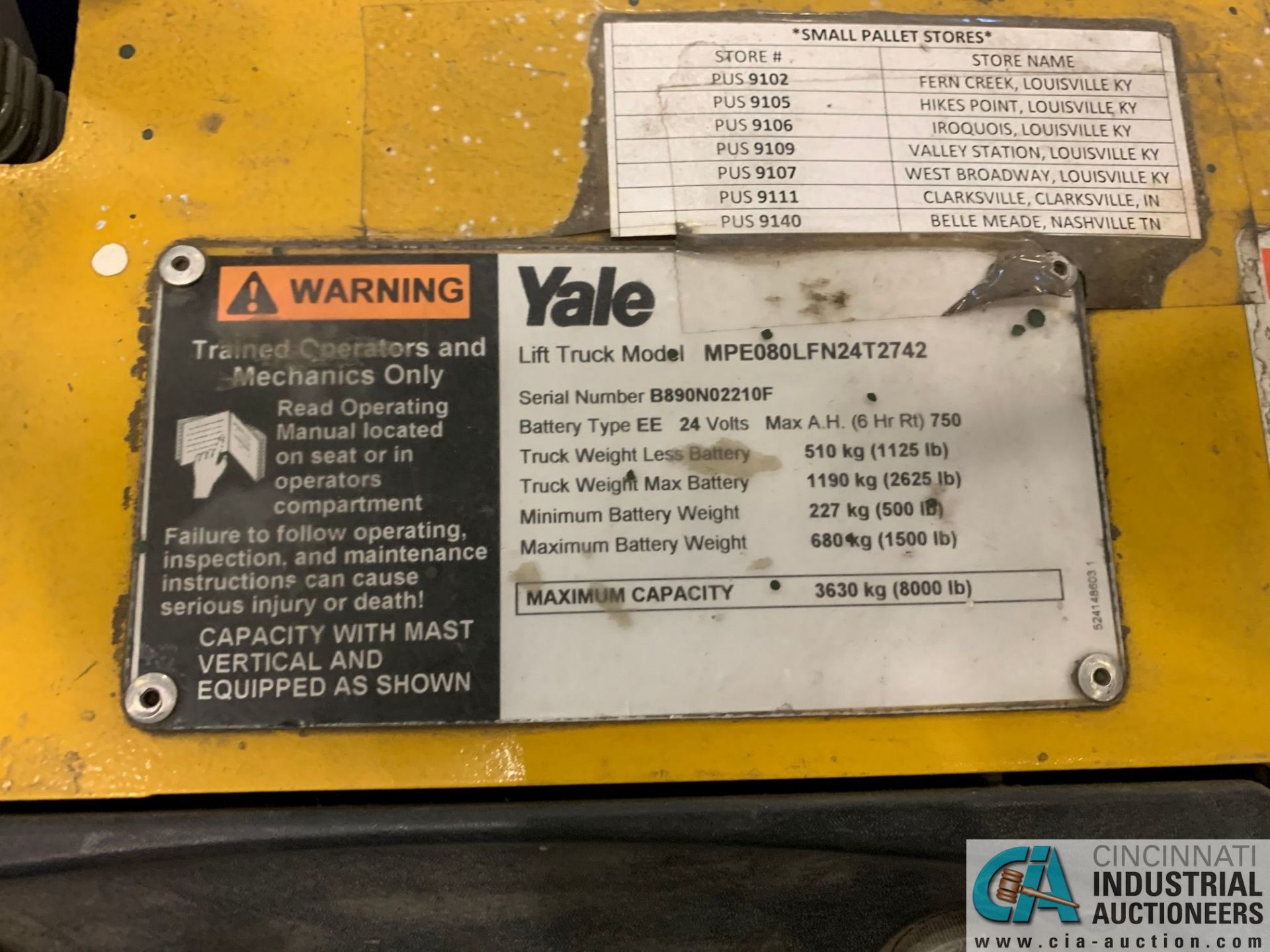 "8,000 LB. YALE MODEL MPE080LFN24T2742 ELECTRIC PALLET TRUCK; S/N B890N02210F, 42"" FORKS, W/ 24- - Image 3 of 5"