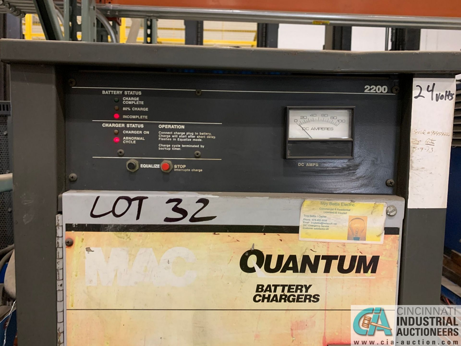 24-VOLT QUANTUM MODEL 12Q450B2A BATTERY CHARGER; S/N 98454200 (5400 OAKLEY INDUSTRIAL BLVD., - Image 3 of 3