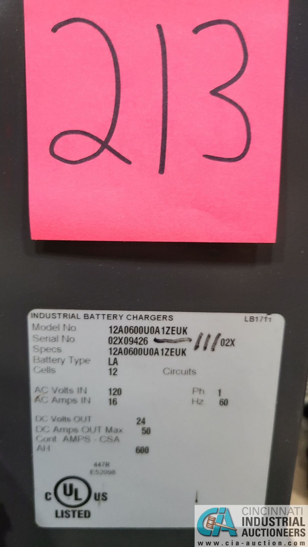 24-VOLT BATTERY BUILDERS MODEL 12A6060000A1ZEUK BATTERY CHARGER; S/N 02X9426-111 (2570 ORCHARD - Image 4 of 4