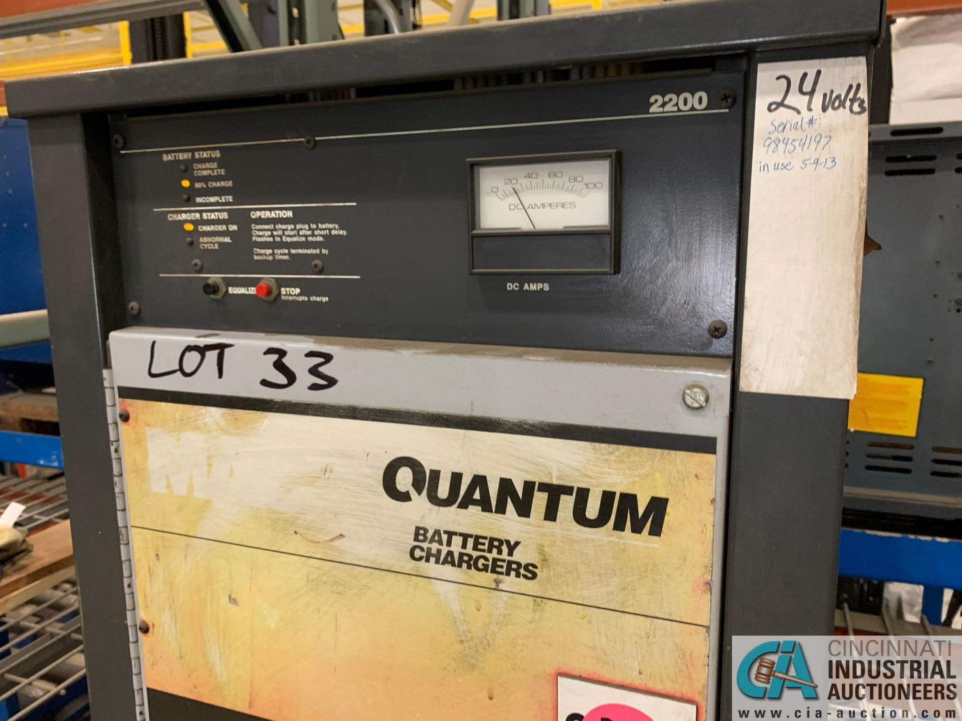 24-VOLT QUANTUM MODEL 12Q450B2A BATTERY CHARGER; S/N 98454197 (5400 OAKLEY INDUSTRIAL BLVD., - Image 3 of 3