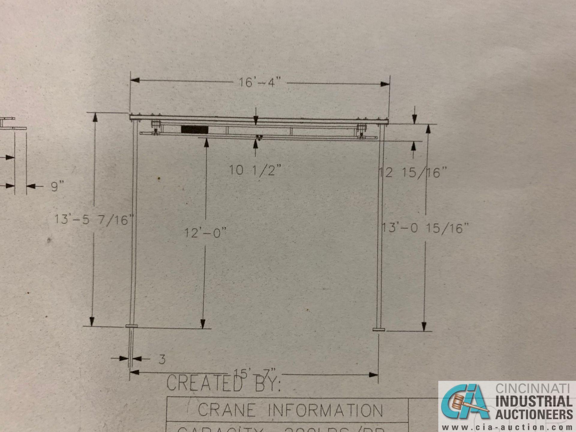 200 LB. GORBEL MODEL GLCS-FS-250-15-15-12 FREE-STANDING CRANE SYSTEM; 15' BRIDGE OAL, 15' RUNWAY - Image 11 of 15