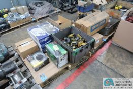 SKIDS MISC. ELECTRICAL INCLUDING WIRE REEL, PUSH BUTTONS, EXIT SIGNS, STARTERS, MOTOR, DRIVES
