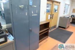 (LOT) TWO-DOOR STEEL CABINET W/ MISC. TEST EQUIPMENT, (2) DESKS, STEEL CABINET