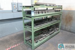 (LOT) (155) PRESS BRAKE DIES, PUNHCES AND FIXTURE3S WITH RACK