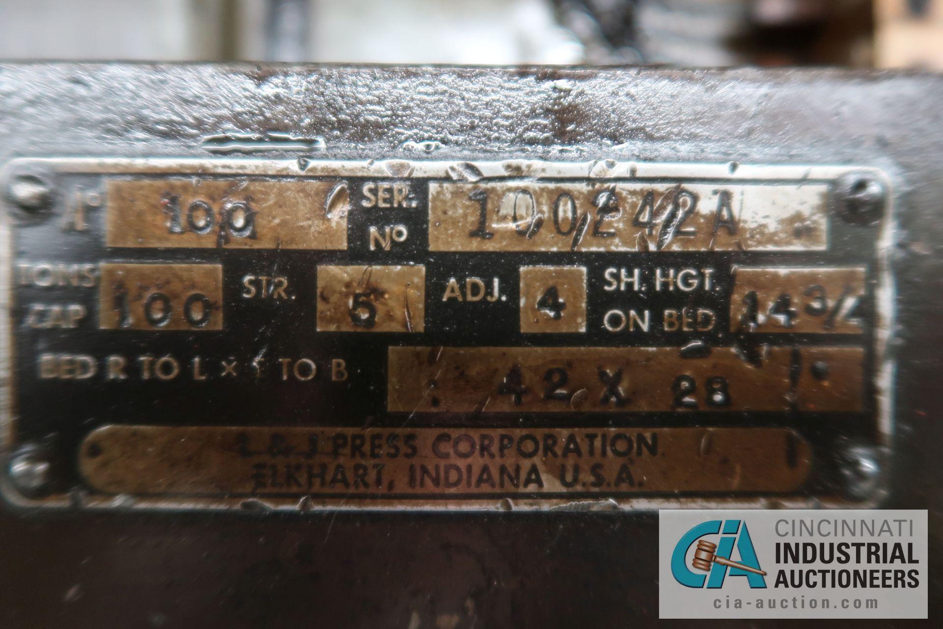 "100 TON CAPACITY L&J BACKED GEARED OBI PRESS; S/N 100242A, 5"" STROKE, 4"" ADJUST, 14-3/4"" SHUT HEIGHT - Image 13 of 13"