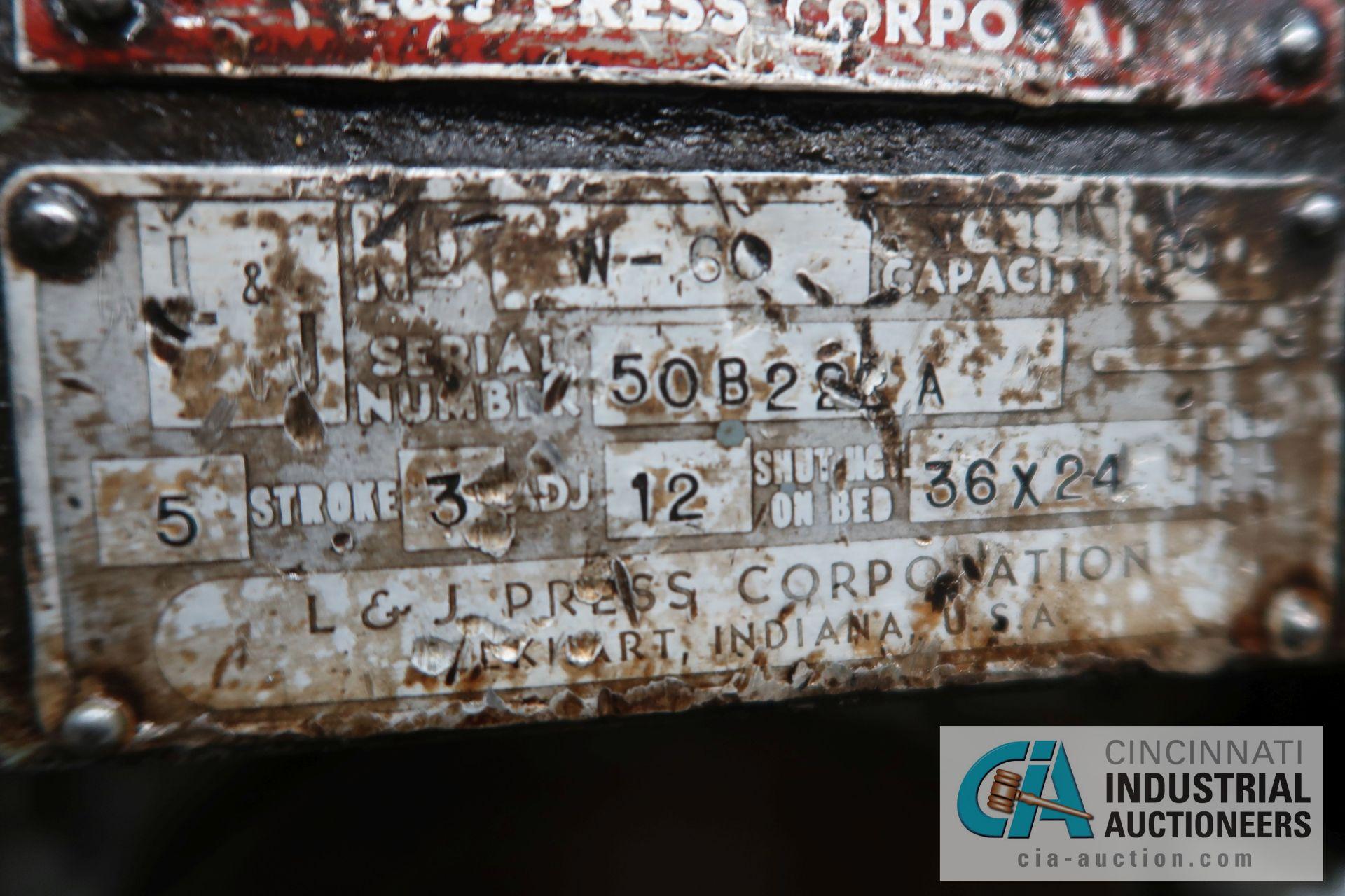 """60 TON L&J MODEL W-60 BACK GEARED OBI PRESS; S/N 50B222-A, 5"""" STROKE, 3"""" ADJUST, 12"""" SHUT HEIGHT - Image 13 of 13"""