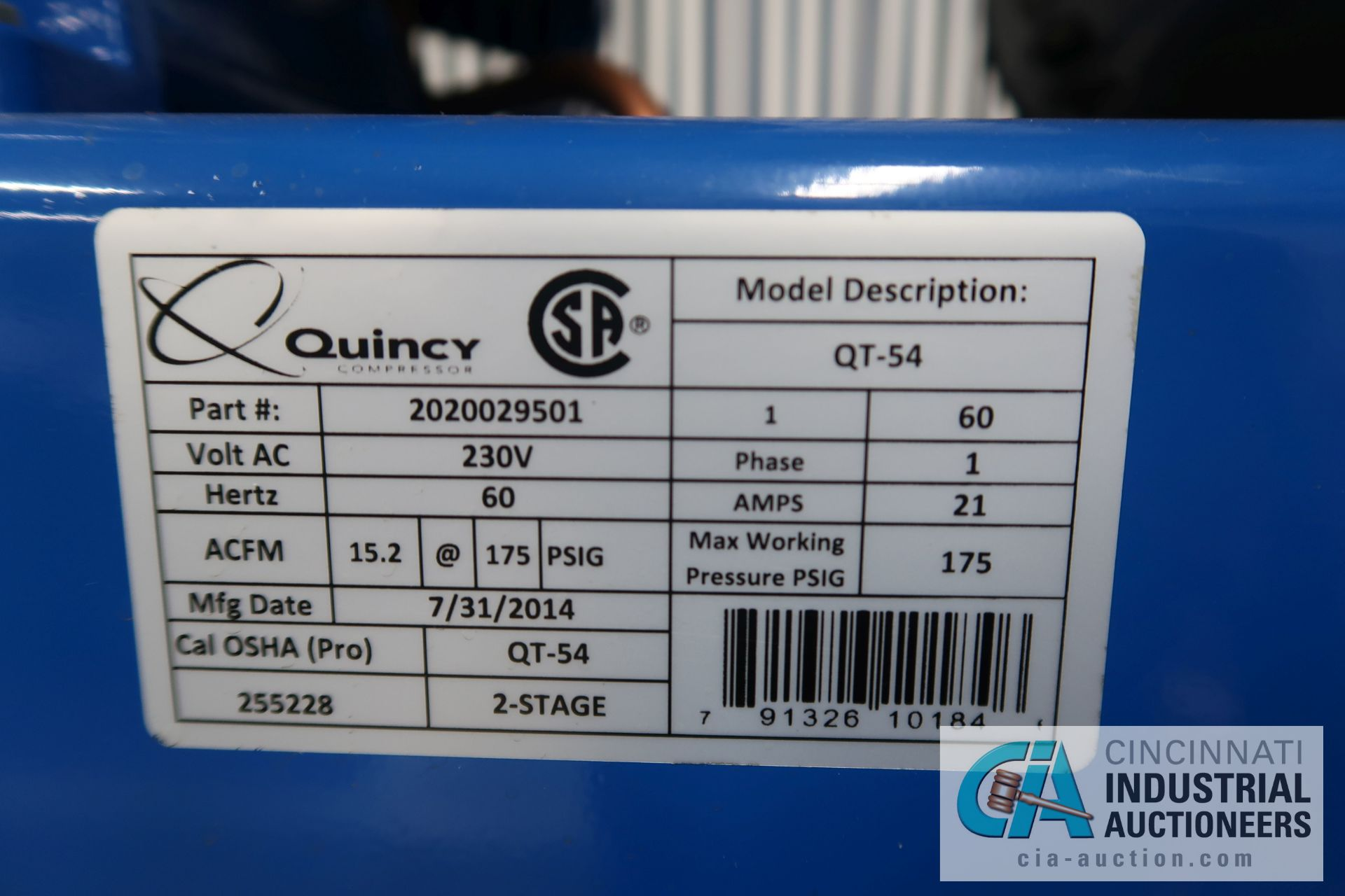 5 HP QUINCY VERTICAL TANK MOUNTED AIR COMPRESSOR - Image 4 of 5