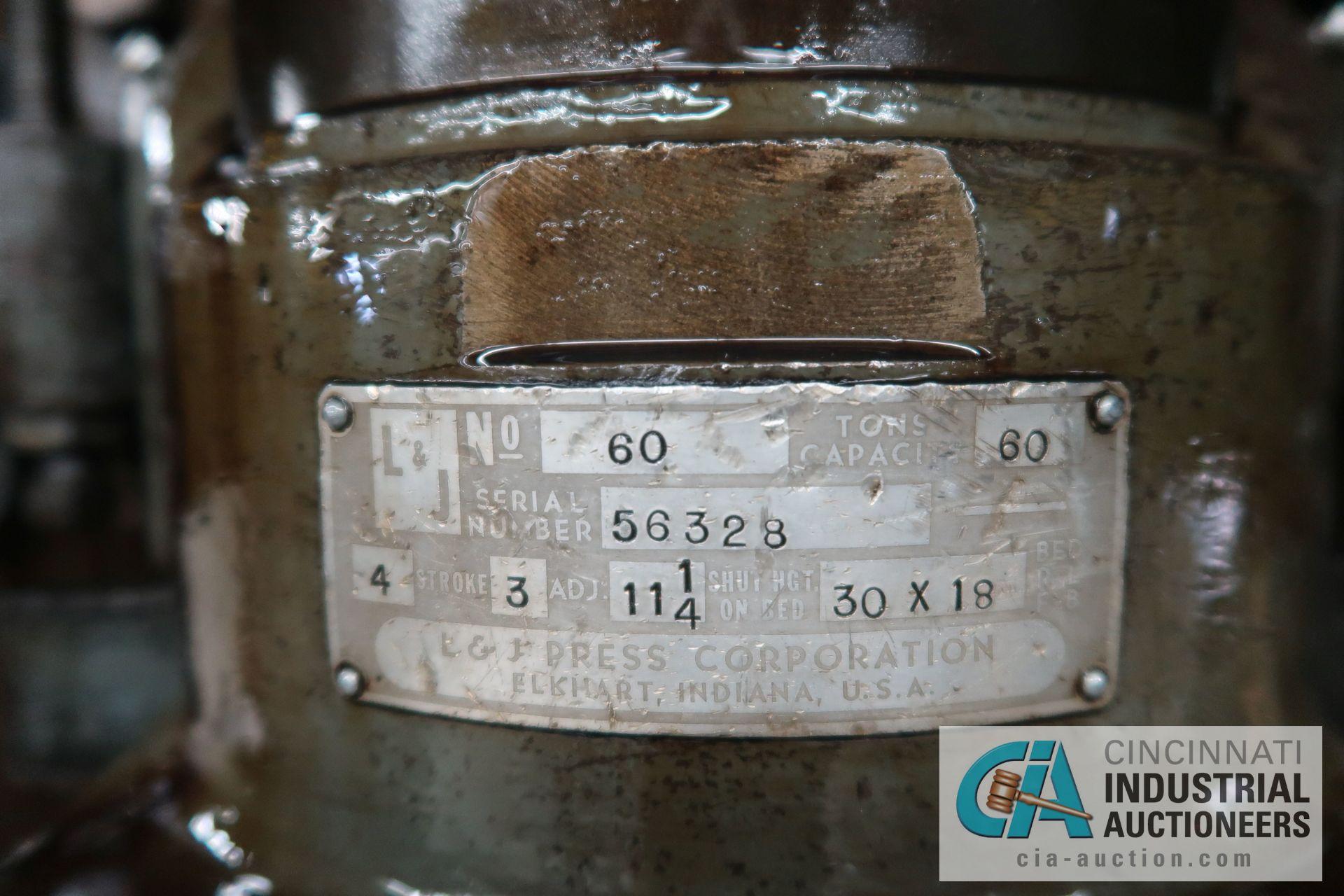 "60 TON L&J MODEL W-60 BACK GEARED OBI PRESS; S/N 56328, 4"" STROKE, 3"" ADJUST, 11-1/4"" SHUT HEIGHT ON - Image 8 of 8"