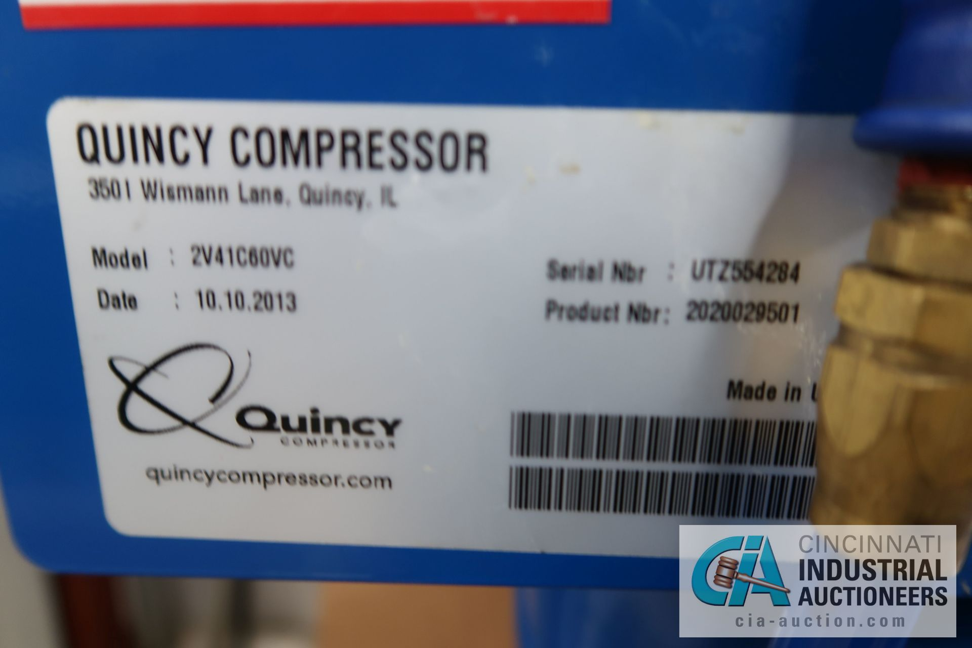 5 HP QUINCY VERTICAL TANK MOUNTED AIR COMPRESSOR - Image 5 of 5