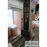 2,000 LB. CAPACITY CROWN MODEL 20MT ELECTRIC WALK BEHIND ELECTRIC STACKER; S/N 1A132307, 24 VOLT,