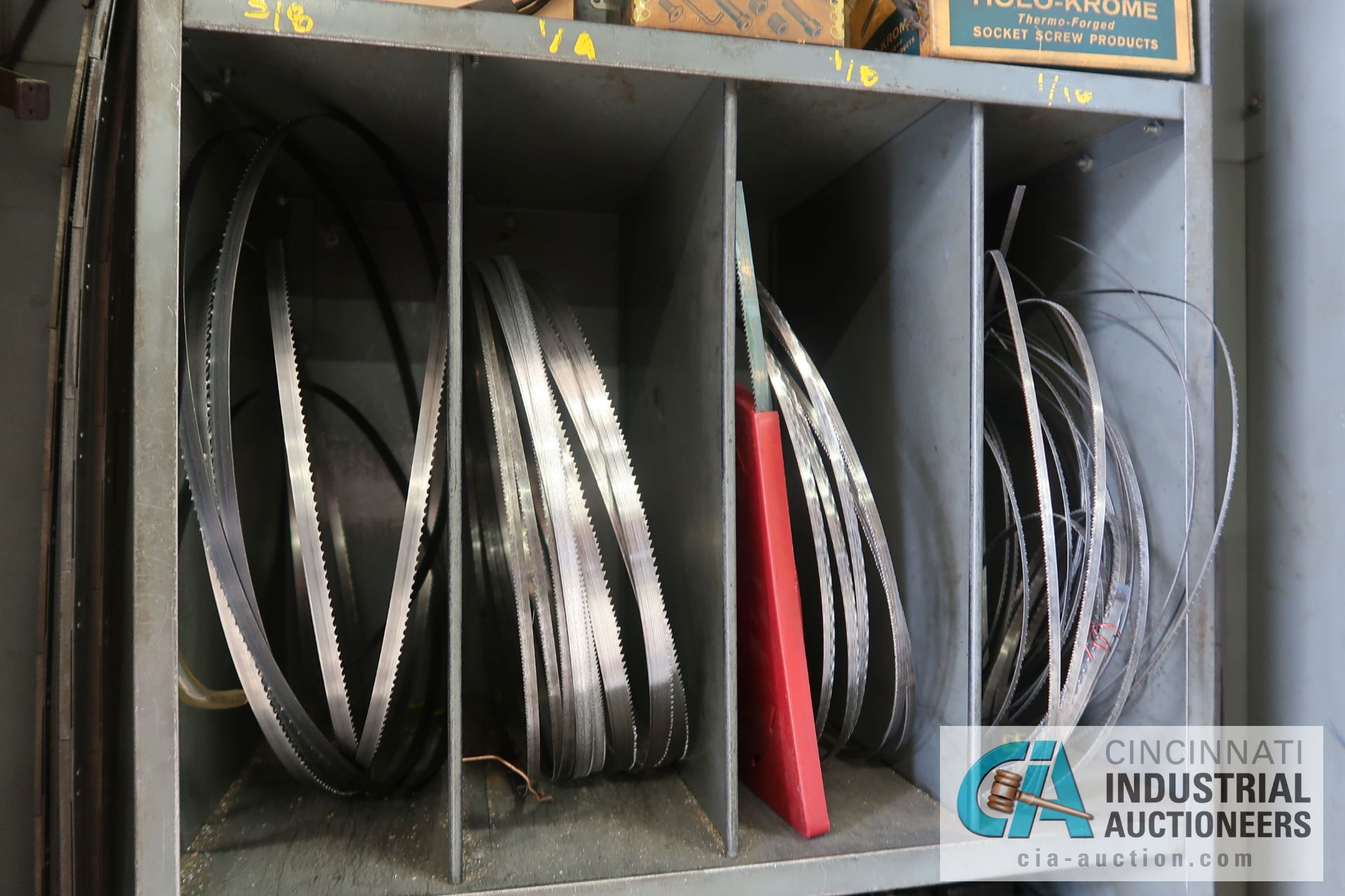 (LOT) MISCELLANEOUS SIZE BAND SAW BLADES WITH STORAGE CABINET - Image 2 of 6