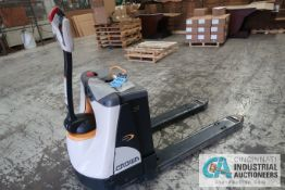 2,000 LB. CROWN MODEL WP3035-45 ELECTRIC WALK BEHIND PALLET TRUCK; S/N 7A291635, WITH BUILT IN