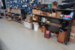 (LOT) CONTENTS OF RACK AGAINST WALL INCLUDING HARDWARE, TOOLS, ELECTRICAL PARTS (NO SOUND SYSTEM)