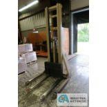 2,000 LB. CAPACITY CROWN MODEL 20MT ELECTRIC WALK BEHIND ELECTRIC STACKER; S/N 31691, 24 VOLT,